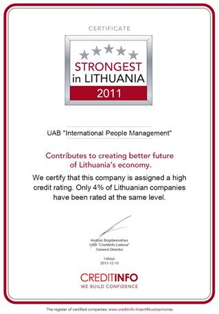Strongest in Lithuania 2011 - IPM - International People Management | Trainings and seminars picture