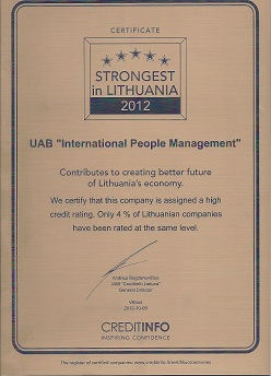 Strongest in Lithuania 2012 - IPM - International People Management | Trainings and seminars picture